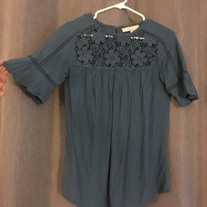 Loft blouse with embroidery at top. Flair sleeves